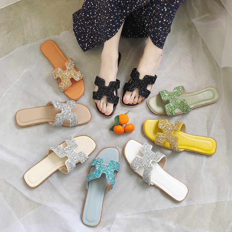 H Slipper Women's Outer Wear Versitile Fashion 2019 New Style Summer Online Celebrity Slippers Beach Seaside GIRL'S Heart Sandal