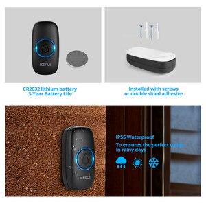 Image 4 - KERUI M523 אלחוטי חכם פעמון ערכת אבטחת בית עמיד למים דלת כפתור צבעוני LED שוכנו פעמוני פעמון 433MHZ כפתור