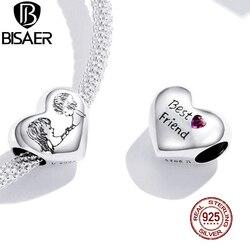 Bisaer melhores amigos coração contas 925 prata esterlina zircão amizade encantos pingente caber diy pulseira colar jóias ecc1516