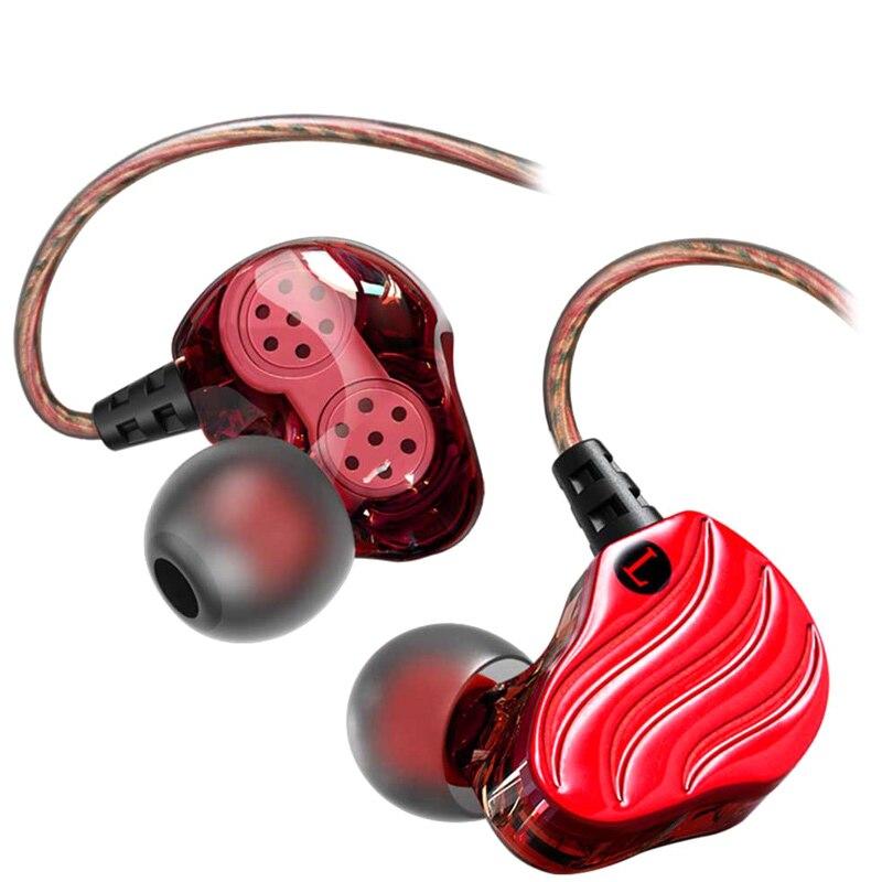 1 Pair Earphone Dual Drivers Sports Ear Hook In-ear Wired Earphones GV99