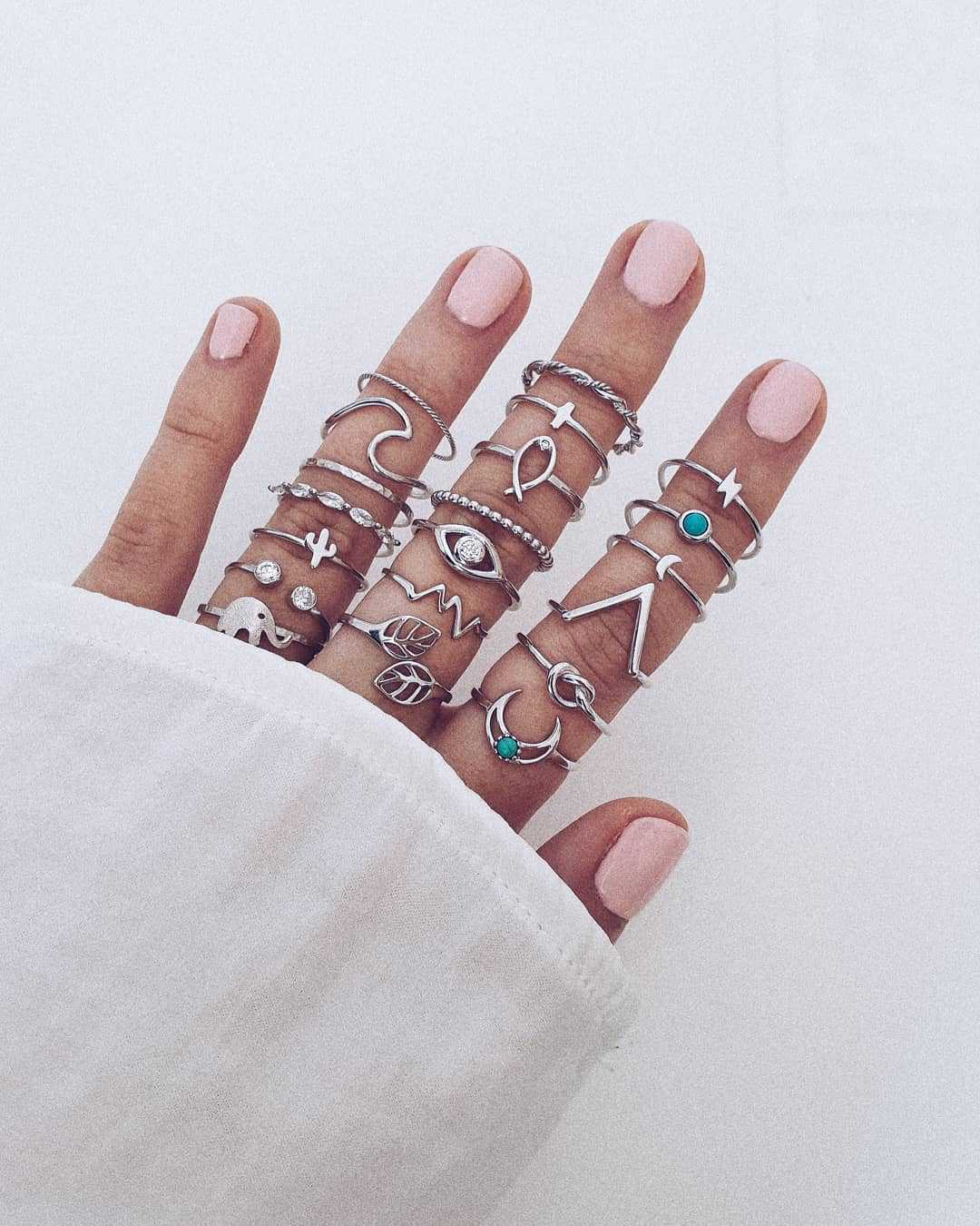 20pcs / lot Mixed Elephant Leaves Wave Moon Crystal Geometric Silver Joint Ring Set Women Wedding Party Jewelry Accessories
