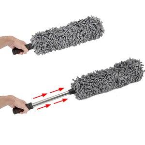 Image 5 - Microfiber macio carro espanador escova mais limpo poeira sujeira polisher ferramenta de lavagem alça telescópica motocicleta acessórios automóveis interior
