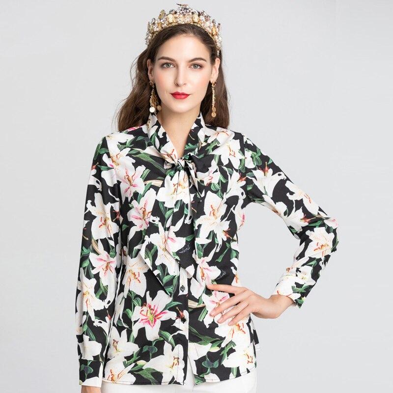 Nouvelle piste Designer femmes Blouse femmes à manches longues lys fleur imprimé arc col chemise de grande taille femme Blouse décontractée