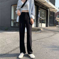 HziriP Black Casual Solid Brief Fashion High Waist Flare Pants New Style Fresh Loose Stylish Women Full Trousers Large Size