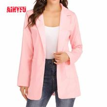 Ainyfu Solid Temperament Slim Suit Jacket Woman Turn-down Collar Office Lady Coats Long Sleeve Patchwork Femme Clothing Autumn