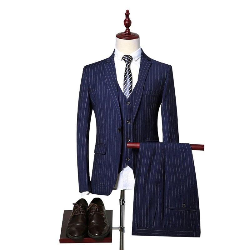 ( Jacket + Vest + Pants ) Boutique Fashion Striped Mens Casual Business Suit 3 Pcs Set Groom Wedding Dress Formal Striped Suit