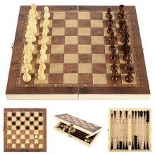 Chess Backgammon Checkers 3 in 1 Wooden Chess Set Travel Chess Game Wooden Chessboard and Wooden Chess Pieces for Paly for Gift