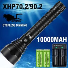 10000mAh Professional Diving Flashlight XHP70.2/XHP90.2 Stepless Dimming IPX8 Waterproof Underwater LED Torch By 26650 Batteries