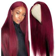 M&H 10a Straight 99J Burgundy T Part Lace Closure Human Hair Wigs Middle Part Brazilian Remy Hair Human Hair Wig Red