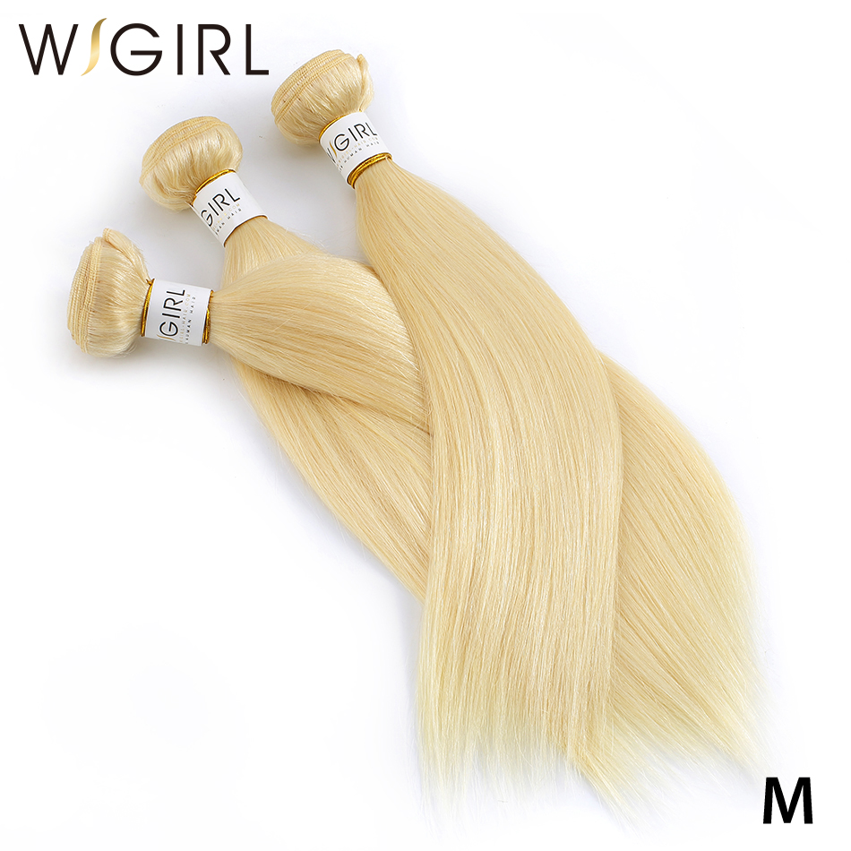 Wigirl Straight 8- 40 Inch Brazilian Remy Hair 613 Blonde Bundles Weave 100% Human Hair Bundles With Pre Plucked Hair Extension