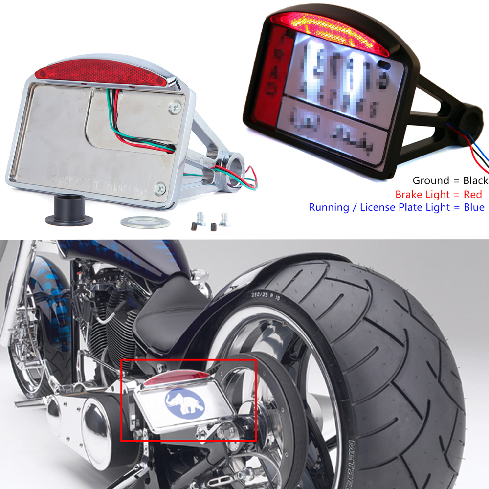 Motorcycle License Plate LED Tail Light Horizontal Side Mount Bracket Holder For Harley BWM Honda Bobber Chopper Custom Touring
