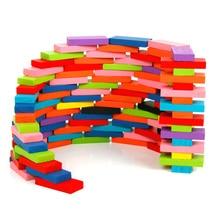 100-400 шт./компл. домино, строительные блоки, игрушки, деревянный Цветной домино Наборы раннего обучения Монтессори игры образовательные игрушки для детей