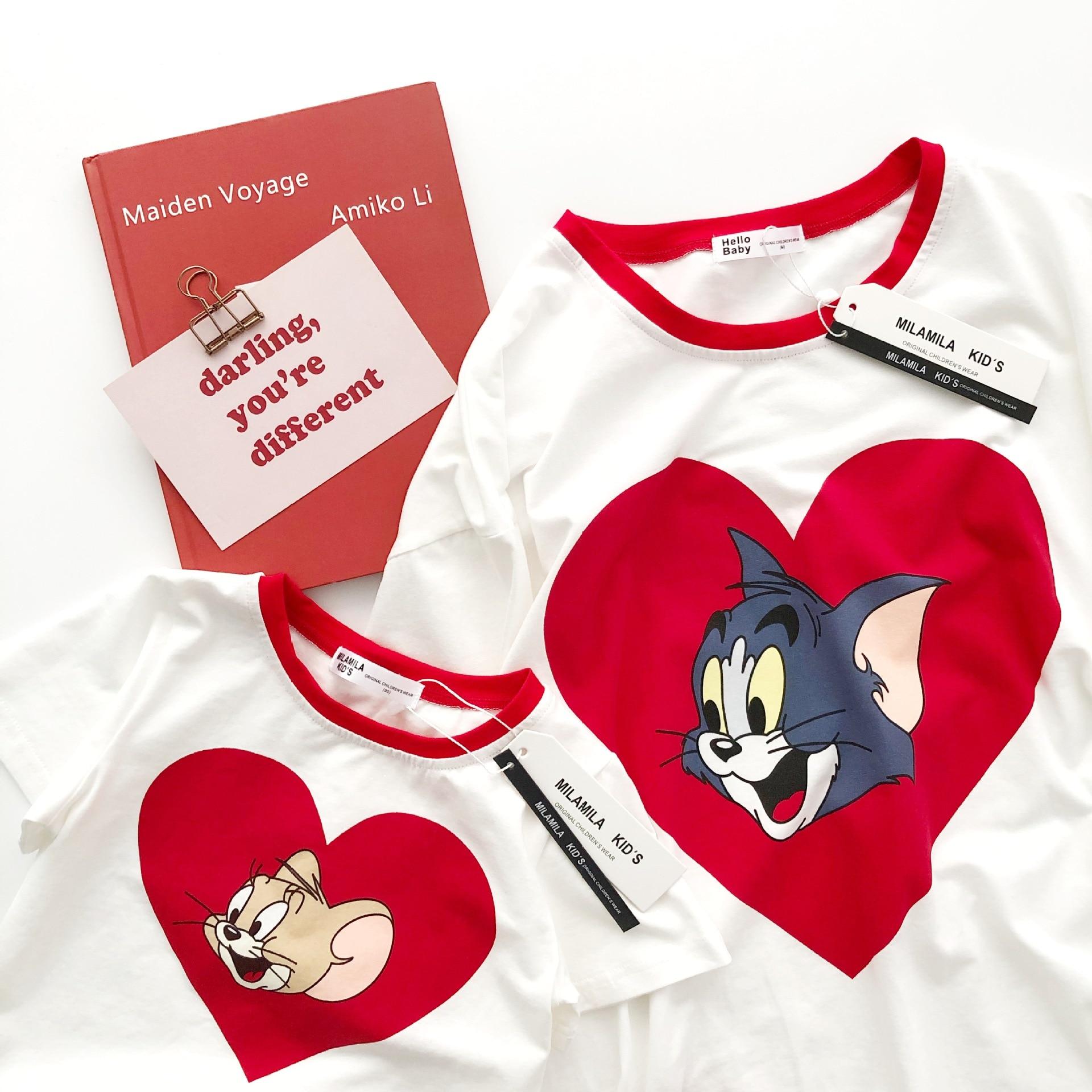 Tonytaobaby Summer New Parent-Child Short-Sleeved T-shirt Cute Cotton Parent-Child T-shirt Parent-Child Clothes