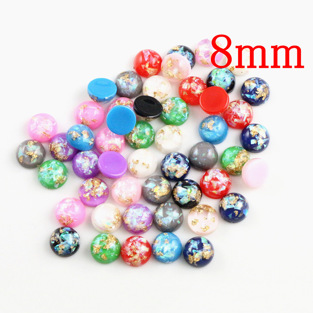 New Fashion 8mm 40pcs/Lot Mix Color Built-in Metal Foil Flat Back Resin Cabochons Cameo