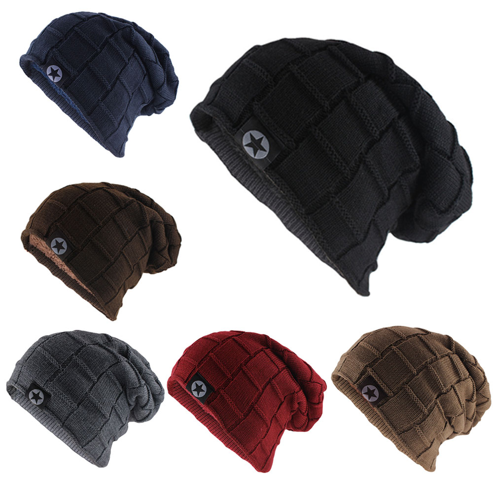 Fleece Lined Hats For Women Knitted Wool Warm Winter Beanies Thick Hats For Men Female Fashion Caps Skullies & Beanies XL164