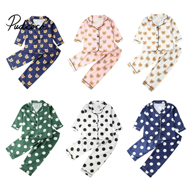 Boys Girls Kids   Pajama     Sets   Cartoon Dot Long Sleeve T-Shirt Tops With Pants Toddler Baby Sleeping Clothes Pijamas Sleepwear