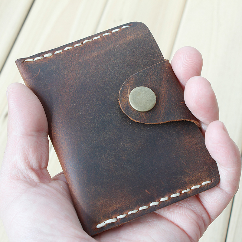 Handmade Card Wallet Genuine Leather Credit Card Holder Minimalist Wallet For Cards Vintage Hasp Cardholder Men