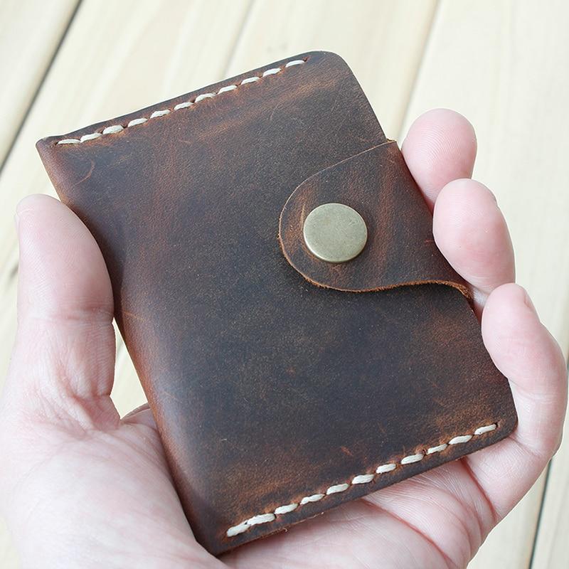 Handmade Card Wallet Genuine Leather Credit Card Holder Minimalist Wallet For Cards Vintage Hasp Cardholder Men