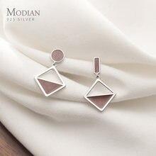 Modian новый 925 пробы серебро Мода геометрический Асимметричный