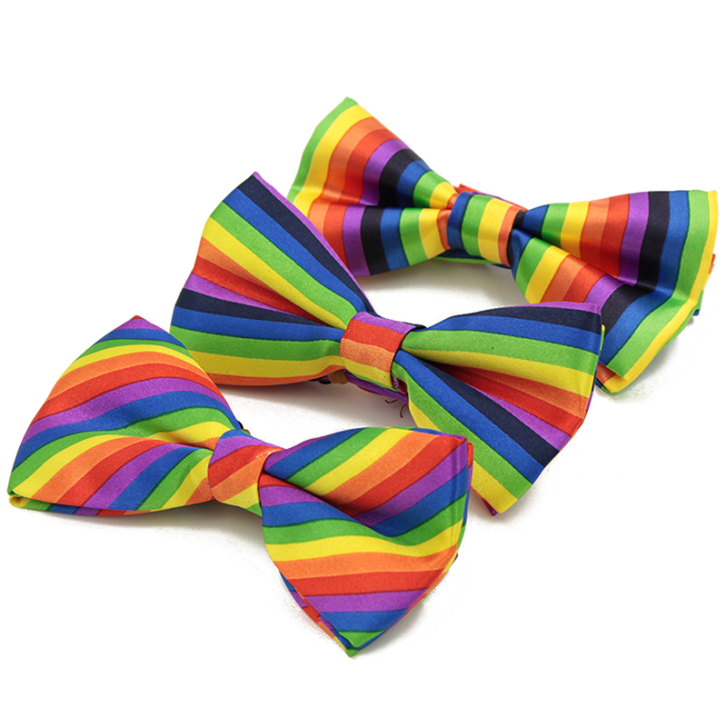 Fashion Colorful Rainbow Striped Bowties Casual Print Best Men Tie Wedding Bridegroom Ties Hot Sale Fake Collar High Quality