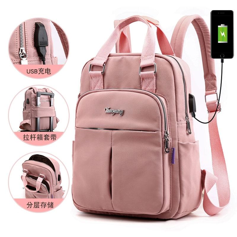 HEFLASHOR Nylon Women School Backpacks Anti Theft USB Charge Backpack Waterproof Bagpack School Bags Teenage Girls Travel Bag
