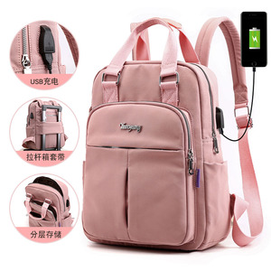 HEFLASHOR Nylon Women School Backpacks Anti Theft USB Charge Backpack Waterproof Bagpack School Bags Teenage Travel Bag In stock(China)