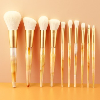 10pcs Sunset White Marble Plastic Handle Wool Like Makeup Brush Set Beauty Professional Foundation Make Up Brush Dropshipping image