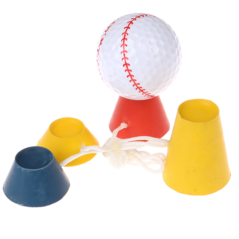 Golf Ball Holder Tees 4In 1 Different Heights Golf Tees Golf Winter Rubber Tee With Rope Golf Ball Holder Golf Training Ball Tee