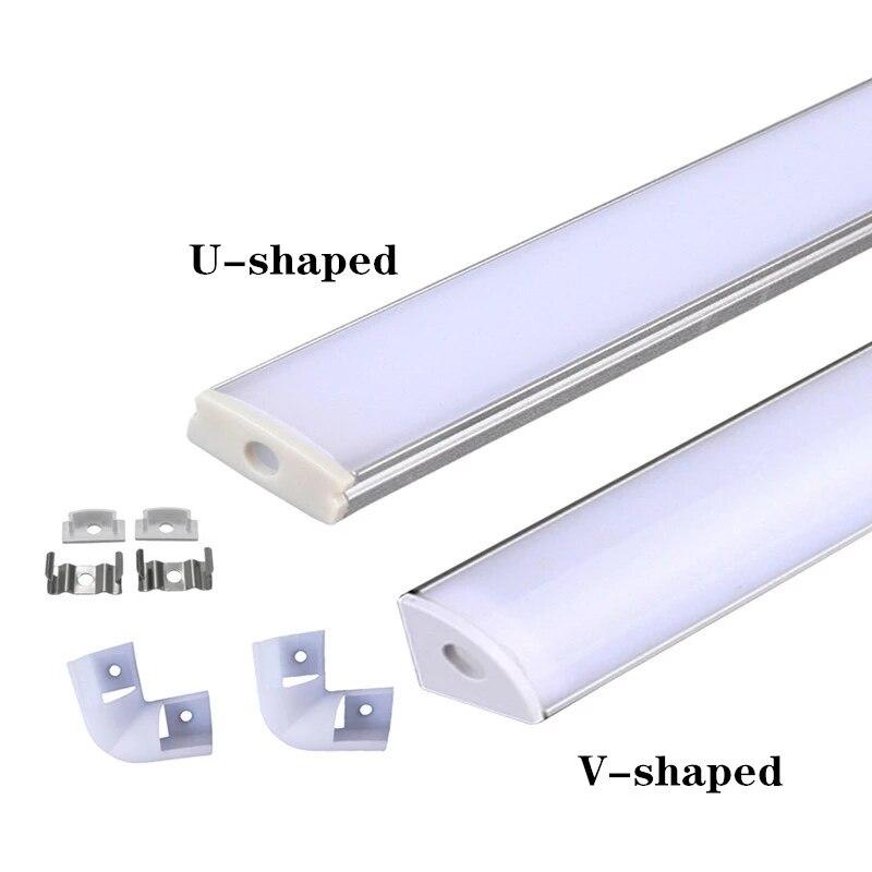 2-30 шт./лот светодиодный алюминиевый профиль U-образный 0,5 м для светодиодной ленты 5050 5630, молочный/Прозрачный чехол для алюминиевого канала