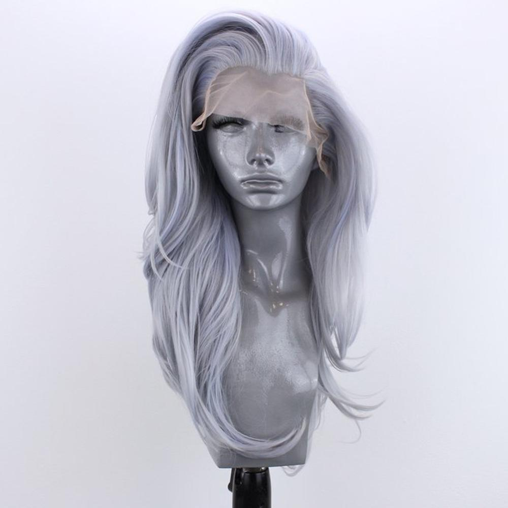 Websterwigs Long Gray Natural Wave Wig Glueless Heat Resistant Fiber Hair Synthetic Lace Front Wigs For Women With Free Part