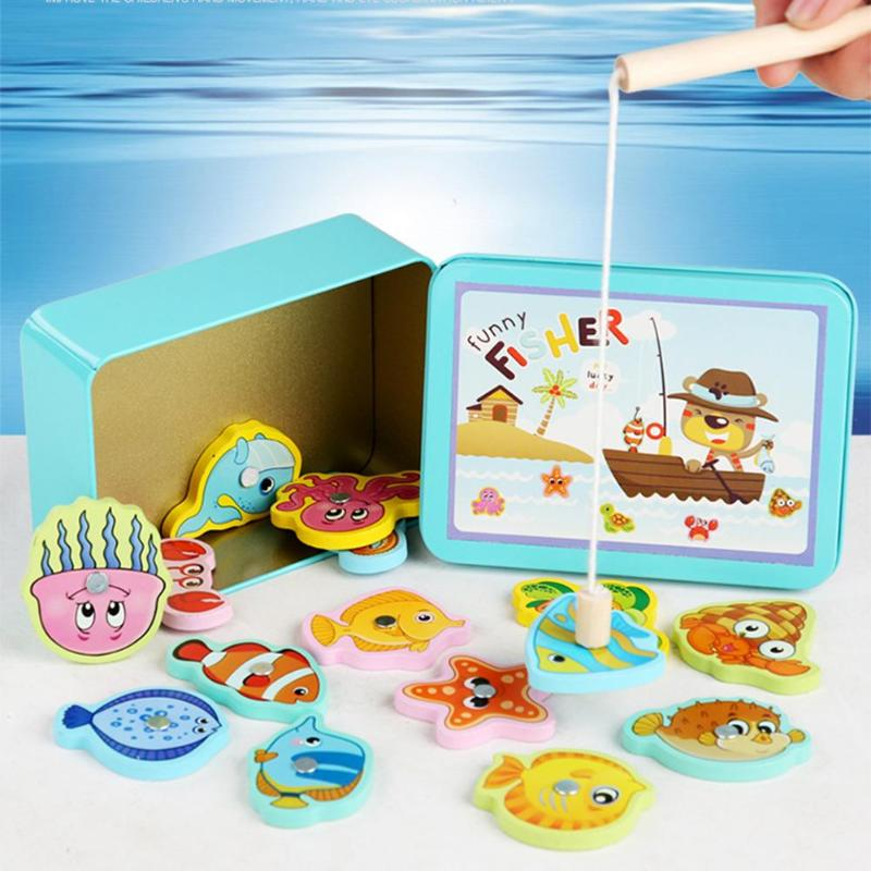 Kid 3D Educational Toys Fishing Puzzle Toy Wooden Magnetic For Toddlers Children