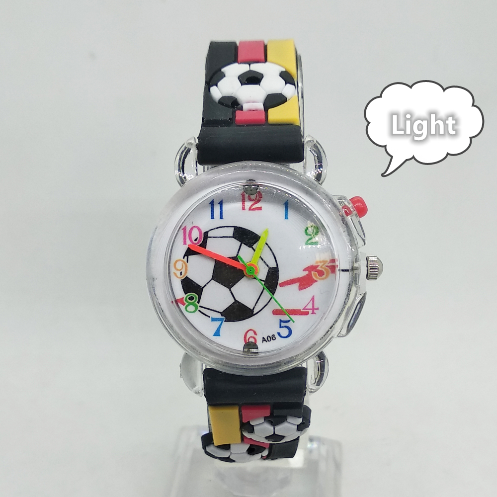 2020 New Kids Watches Flashing Glow Light Source Football Pattern Children Watch Electronic Girls Boys Gift Clock Child Watch