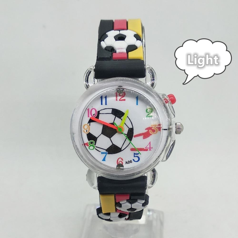2020 New Kids Watches Flashing Glow Light Source Football Pattern Children Watch Electronic Girls Boys Gift Clock Child Watch