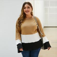 цена на Spring Long Flare Sleeve Sweater Women Plus Size 3XL 4XL O-Neck Autumn Plus Size 3XL 4XL Knitted Pullovers Tops Femme CL260
