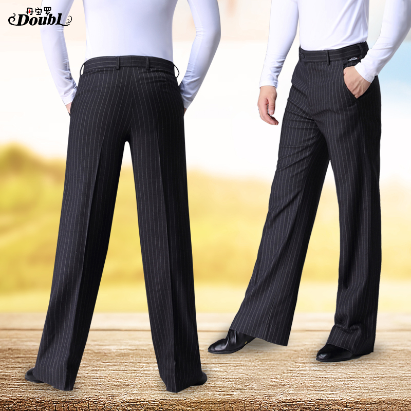 Doubl High Quality New Striped Men's Dance Pants Ballroom Lady's Modern Dance Pants Latin Dance Pocket Waltz Tango Thin
