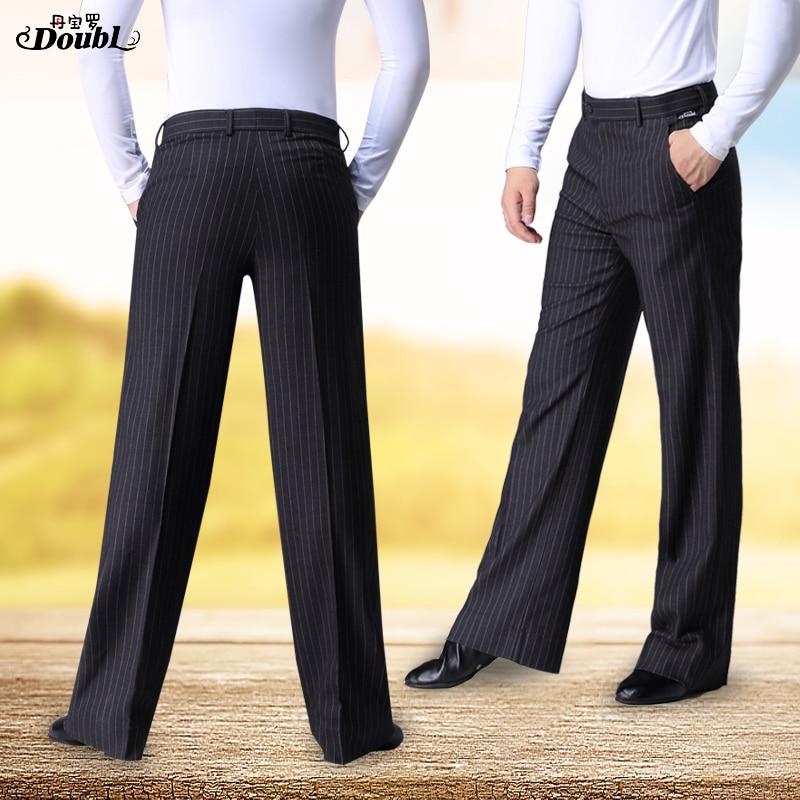 Doubl High Quality New Striped Men's Dance Pants Ballroom Lady's Modern Dance Pants Latin Dance Pocket Waltz Tango Thin