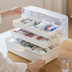 Medical-Box Household-Storage Cosmetic Handle Plastic with Three-Layer