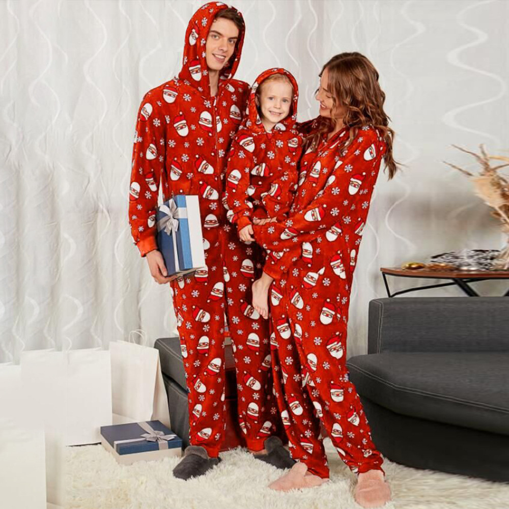 Women Men Kids Christmas Cartoon Prited Onesies Long Sleeves Autumn Winter Women's Sleep Lounge Pajama Adult Children Sleepwear
