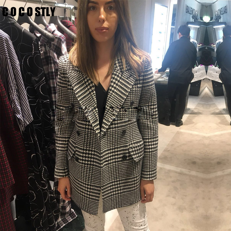 Woolen Suit Coat Plaid Double Breasted Blazer Women Pockets Slim Full Sleeve Turn Down Collar Suit Houndstooth Blazer Femme