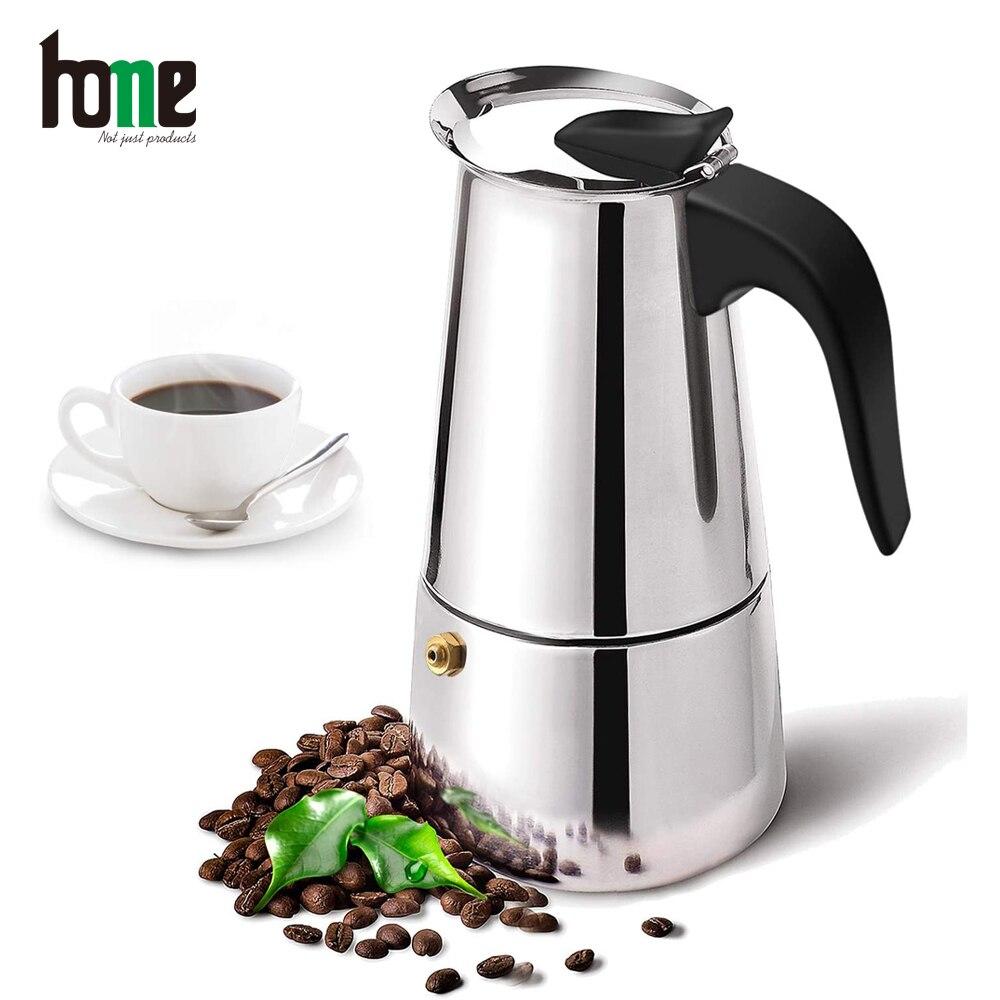 Итальянская кофемашина, кофейник Мока, кофейник, инструменты из нержавеющей стали для эспрессо, портативная кофейная посуда, аксессуары дл...