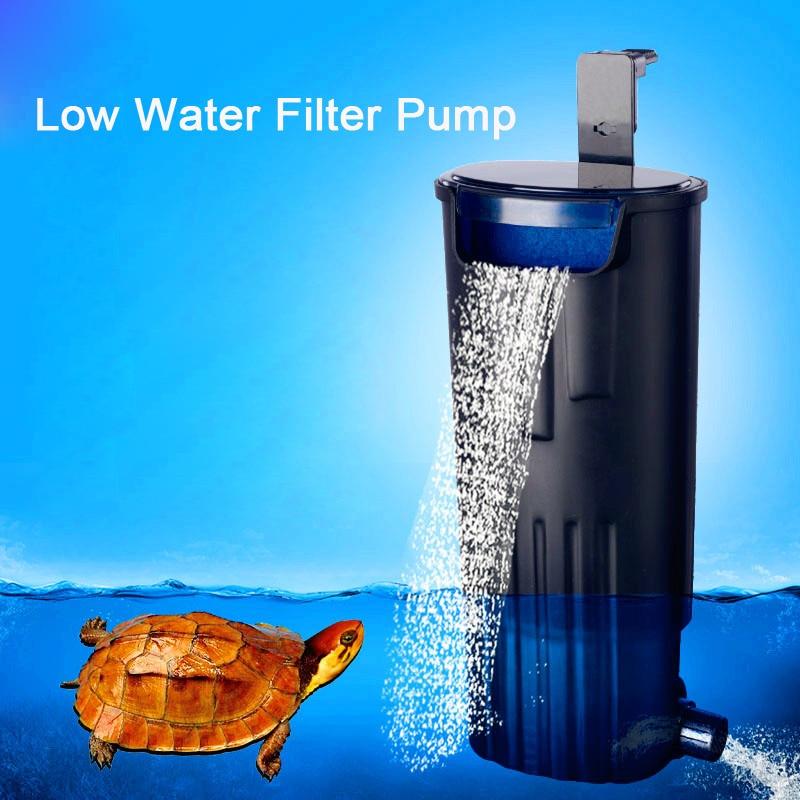 Aquarium Turtle Low Water Filter Pump Fish Tank Hanging Waterfall Turtle Filter Pump Water Circulation For Fish Turtle Reptile