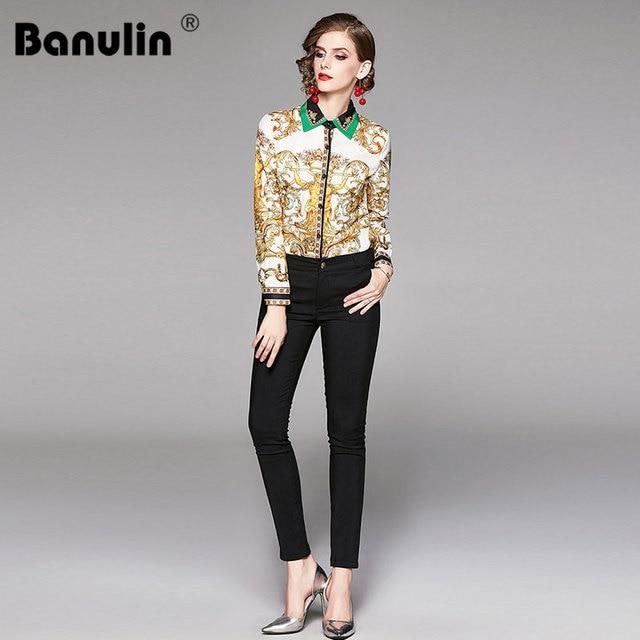 2019 Spring Autumn Design Womans Long-Sleeved Shirt Blouse High Quality Women Printed Office Runway Slim Shirts Tops M-2XL 4