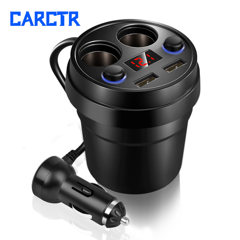 New Cars Charger Double USB Cable Multi-function Cigarette Lighter Car Phone Charger Power Adapter Car Cup Holder Adapter 056