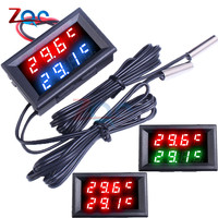 Dual LED Display Digital Thermometer Thermograph Temperature Sensor Meter Detector Tester Monitor for Fridge Aquarium Auto Car