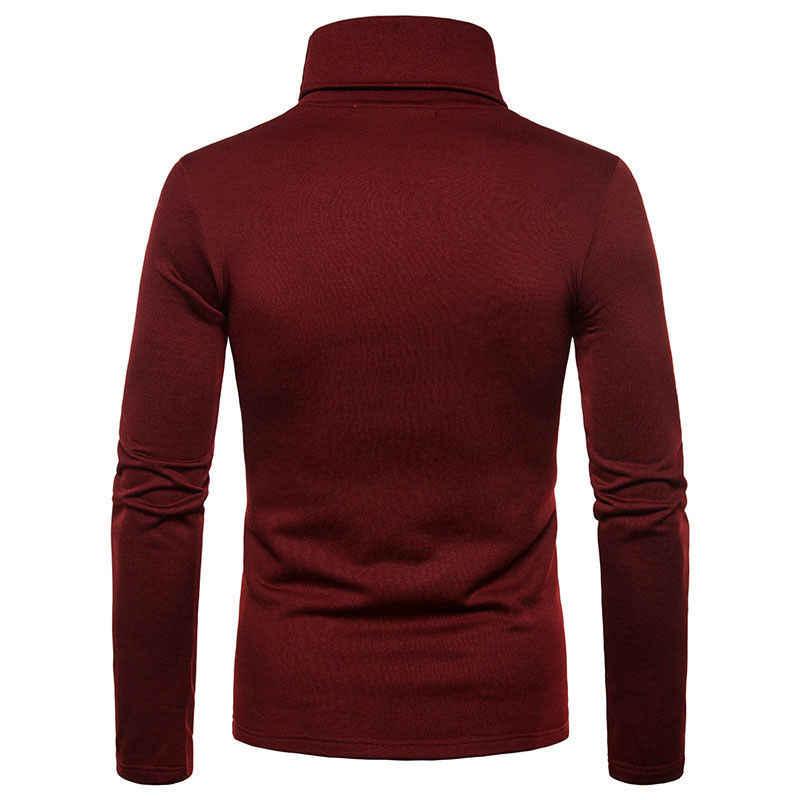 Yeni Streetwear erkek kış sıcak pamuklu yüksek boyun kazak Jumper kazak üstleri erkek balıkçı yaka moda