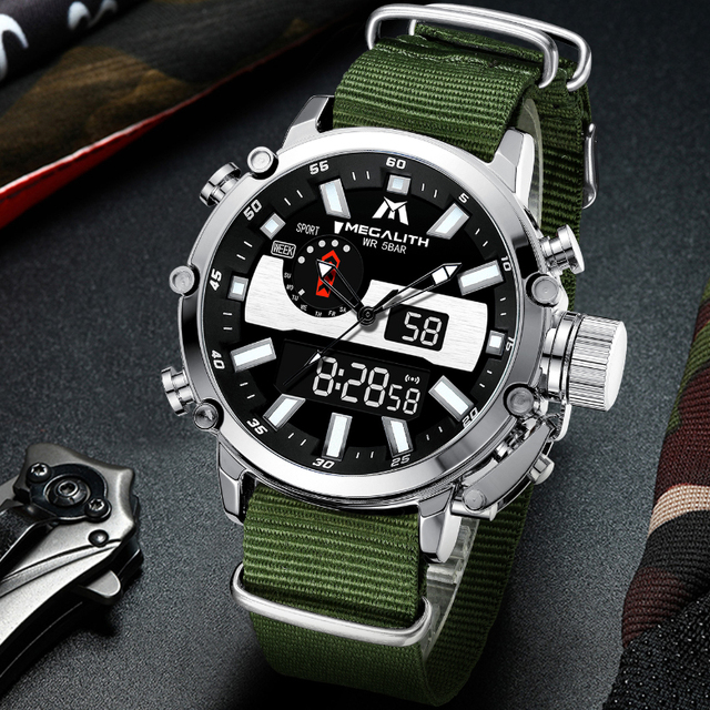 MEGALITH Mens Digtal Watch Dropshipping Sport Military Analog Quartz Multifunction Dual Display Watch with Alarm Stopwatch 8229 1
