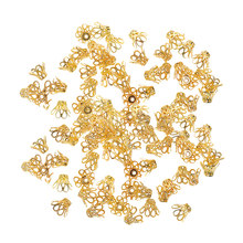 100pcs Retro Filigree Flower Bead Caps Floral End Caps 7mm for Jewelry Making(China)