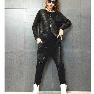 Image 5 - Max LuLu 2019 Autunno Coreano di Modo Dellannata Delle Signore A Due Pezzi Set Delle Donne Patchwork Magliette E Camicette Pantaloni Stile Harem Casual Tute Più Il Formato