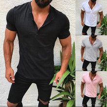 Men's Slim Fit V Neck Short Sleeve Muscle Tee T-shirt Casual