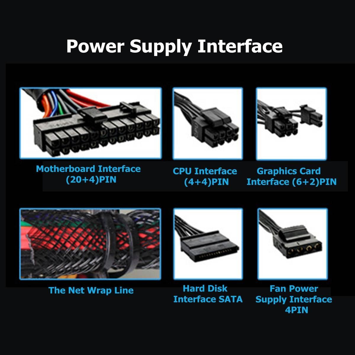 800W 110 ~ 220V Alimentation PC 12cm LED Ventilateur silencieux avec contrôle de température Intelligent Intel AMD ATX 12V pour ordinateur de bureau - 2